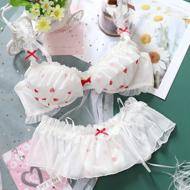 Sofyee Love Tumblr Aesthetic Japanese Lace Girly Dot Flower Sweetie Heart Bra Set