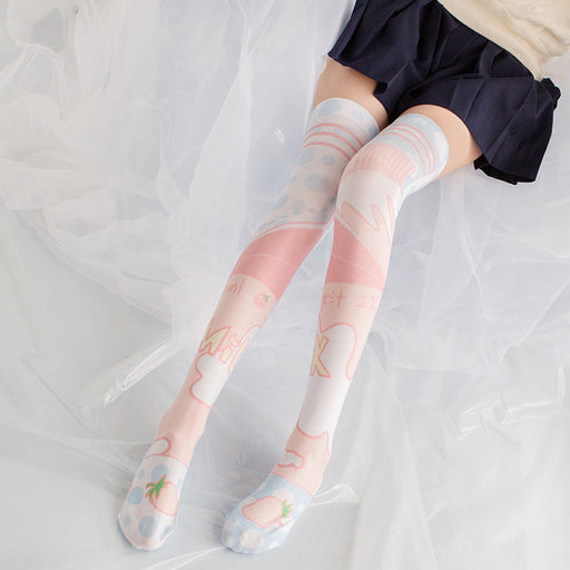 Strawberry Cake Milk Lolita Anime Knee High Long Socks