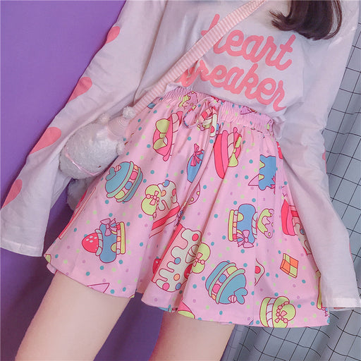 Graphic Hamberger Kawaii Aesthetic Pastel Harajuku Skirt