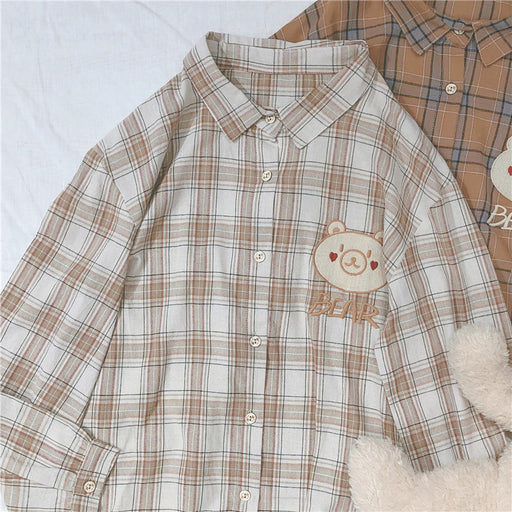 Japanese forest retro bear plaid long sleeve