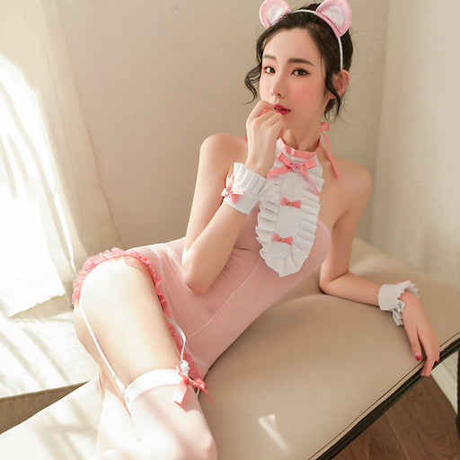 Pink Kitty Anime Neko Cat Keyhole Japanese Style Cosplay Lingerie