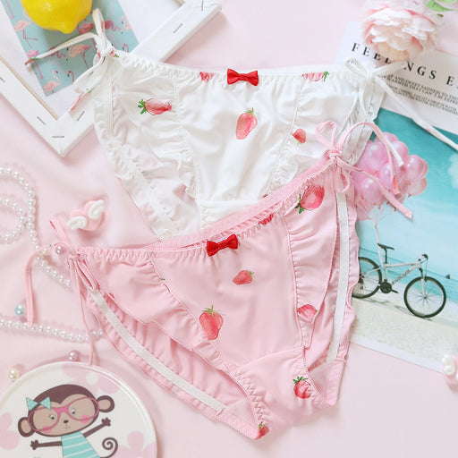 3pcs-Kawaii Fruit Sweet White Kiss Me Panty
