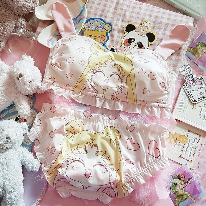 Japanese Soft Girl Sailor Moon Cute Pink Bunny Ears Tube Top Style No Steel Ring Bra Set
