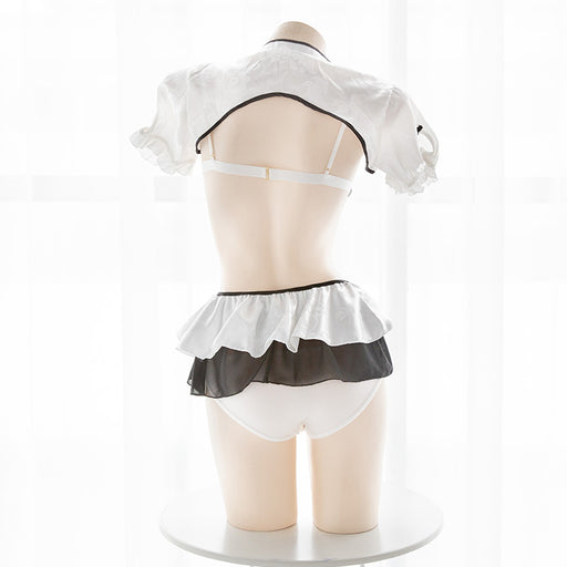 Sexy Amine School Girl Uniform Bow Tie Japanese Cosplay Cropped Sailor Moon Lingerie