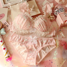 Sweet Girl Ruffle Flower Lolita Bra Set