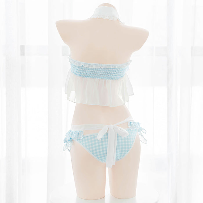 Anime Sexy Blue Check Daisy Wrapped Breast Maid Apron Lingerie Set
