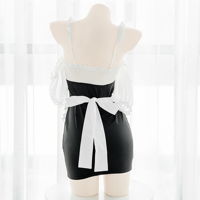 Japanese sexy hip skirt tight-fitting maid short skirt puff sleeve maid uniform set