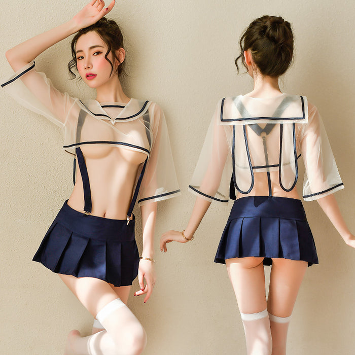 Sexy Amine Bunny Bow Japanese School Girl Kawaii Cropped Costume Lingerie