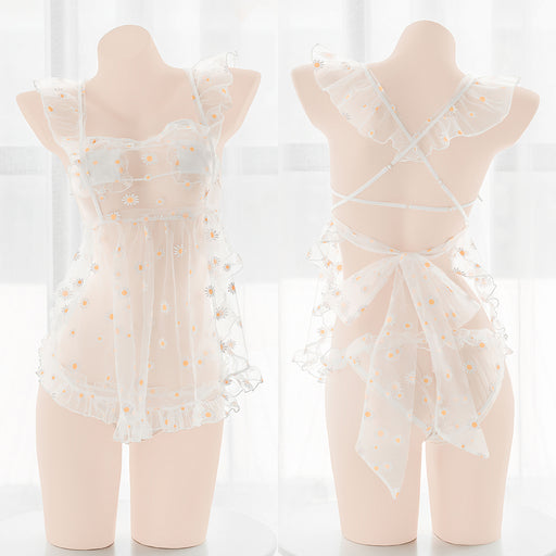Fresh and innocent daisy transparent sexy dress