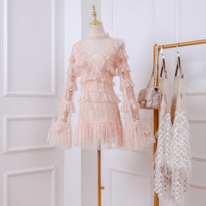 Korean Fairy Pink Petite Girl Lace Sheer Dress