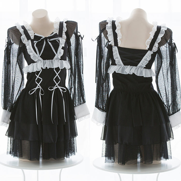 Sofyee Anime Kawaii Bow Japanese Black Maid Set