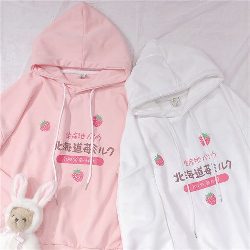 Strawberry Fruity Pastel Kawaii Aesthetic Pink Hoodie