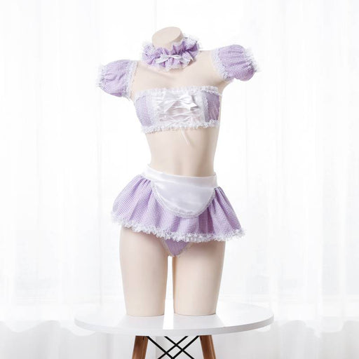 Pink Anime Kawaii Japanese Choker Apron Maid Set