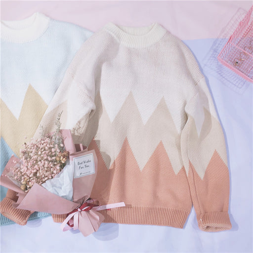 Pastel Kawaii Triangle Mountains Aesthetic Rainbow Sweater