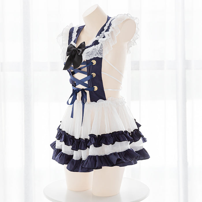 Anime Sexy Lace Perspective Halter Hollow Cross Bandage Navy Sailor Collar Uniform Set