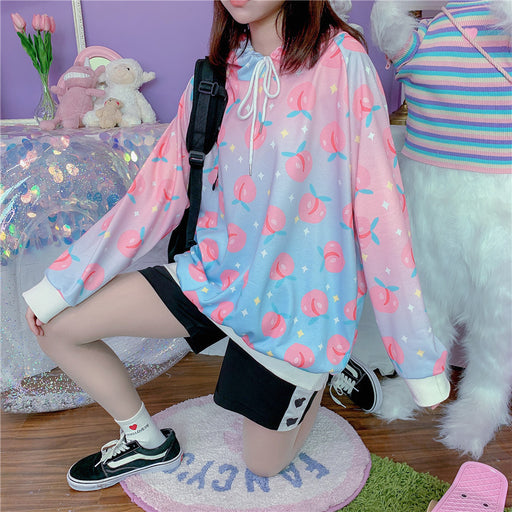 Peach Fruity Pastel Kawaii Aesthetic Pink Hoodie