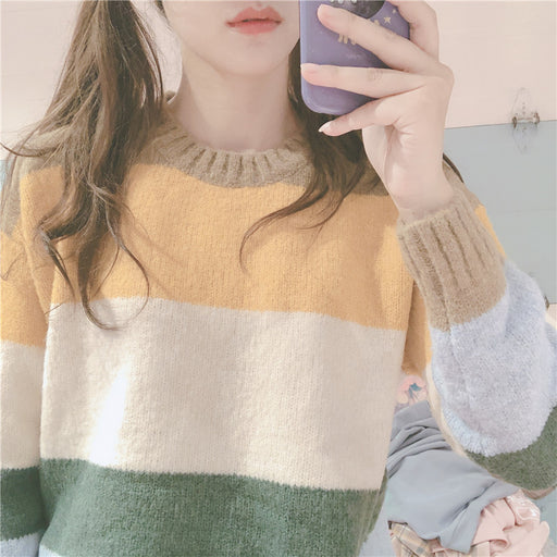 Soft sister striped loose wild round neck long sleeve sweater