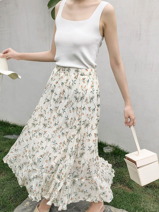 Lost In Flower Love Aesthetic Long Skirt