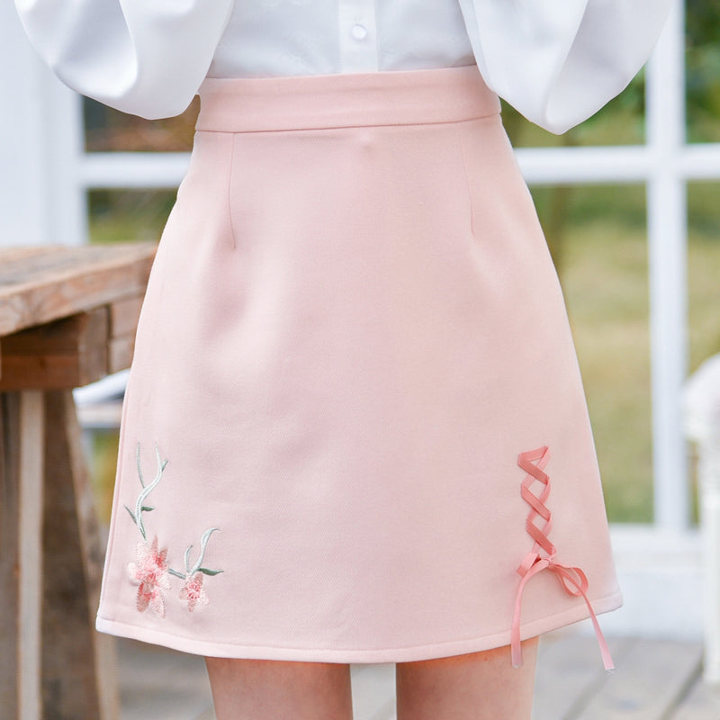 Lace Up Flower Embroidered Pastel Japanese Mori Girl Skirt