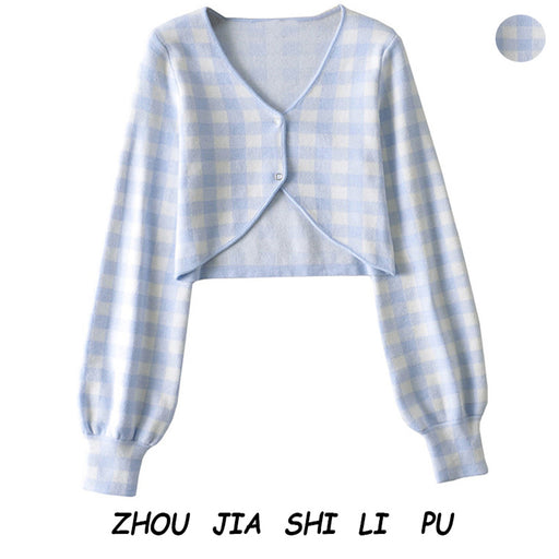 Korean blue plaid knitted cardigan high waist sweet short coat