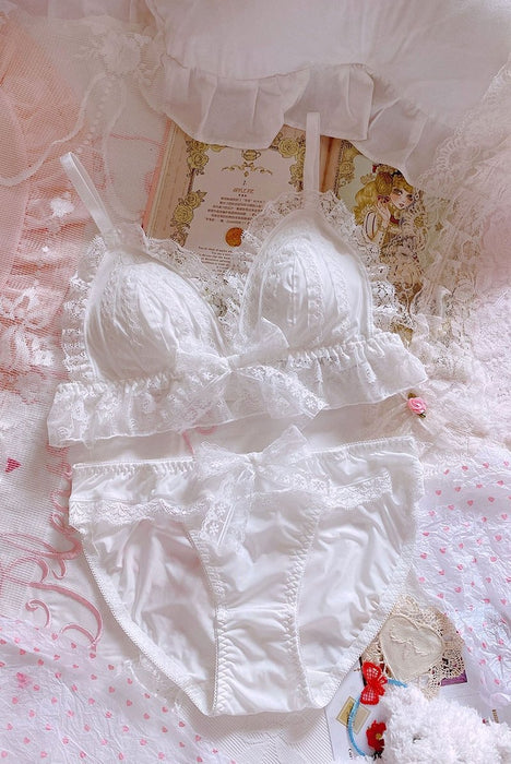 Japanese lace milk silk triangle cup bra set without steel ring