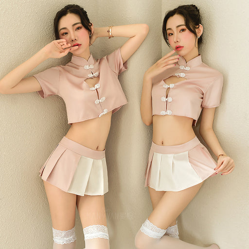 Anime Japanese Style Sexy Keyhole  Maid Skirt Lingerie Set