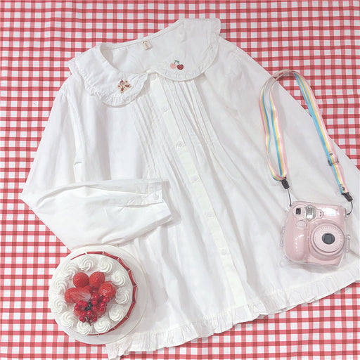 Japanese forest cherry bear embroidery ruffled doll collar long sleeves
