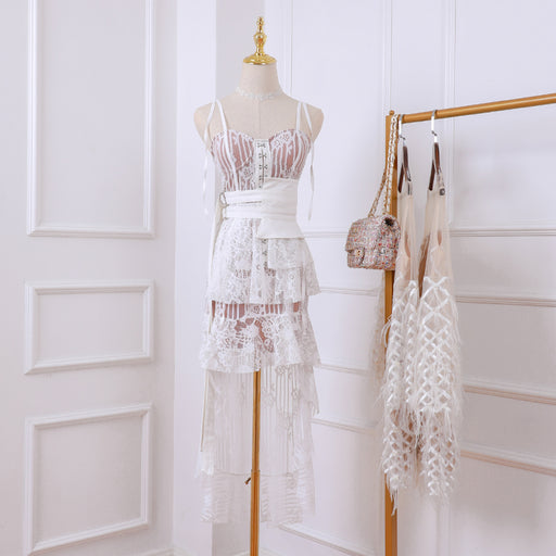 Korean Fairy Lavender Petite Girl Lace Sheer Dress