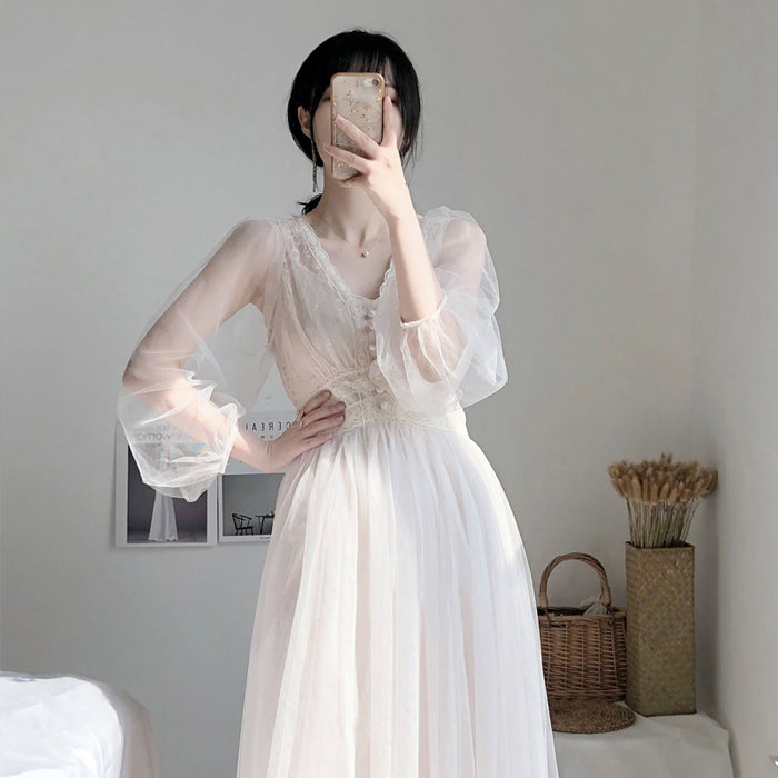 Korean Fairy Lacey Sheer Dress