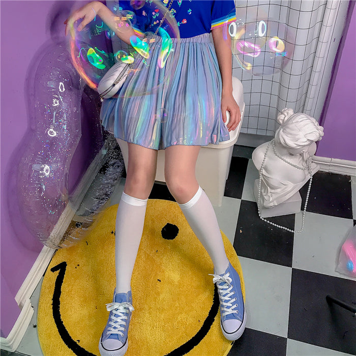 Laser Pleaseted Kawaii Aesthetic Pastel Harajuku Skirt