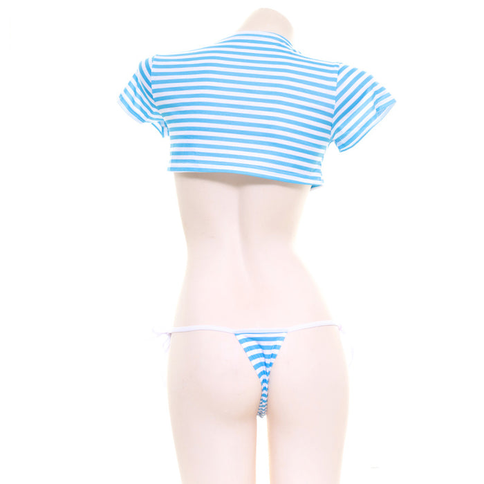 Kawaii Stripped Bow Crop Top Swimsuit