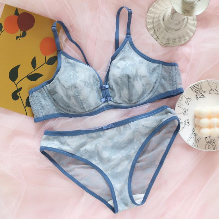 Retro style French lingerie lace sexy cute gathered soft steel ring girl bra set