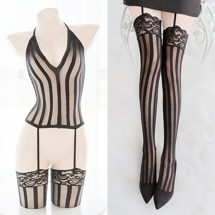Garter Belts Sexy Black Sheer Full Body Bondage Fishnet Body Stocking