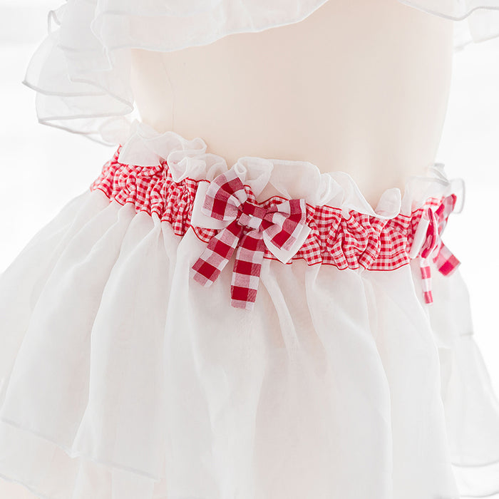 Kawaii Sexy Plaid Red Sweetheart Strawberry Micro-Pleasure Set