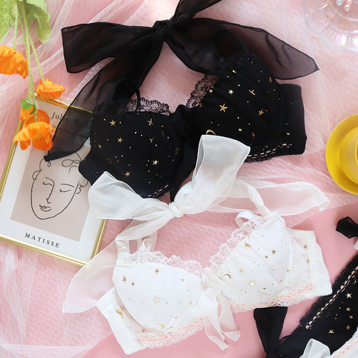Japanese Kawaii Anime Starring Night Bow Bras And Panty Set