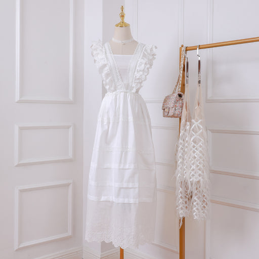 Korean Fairy White Petite Girl Lace Sheer Dress