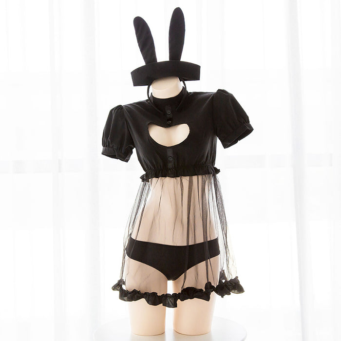 Sexy Cute Bunny Tail Girl Faux Leather Rabbit Comic Show Kawaii Cosplay Lingerie Set