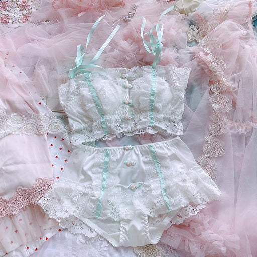 Kawaii Lolita Flower Tube Top Lingerie Set