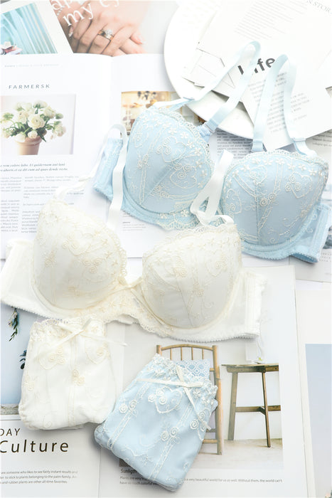 Tumblr Girly Dot Flower Lace Sweetie Heart Wave Trimmed Bra Set