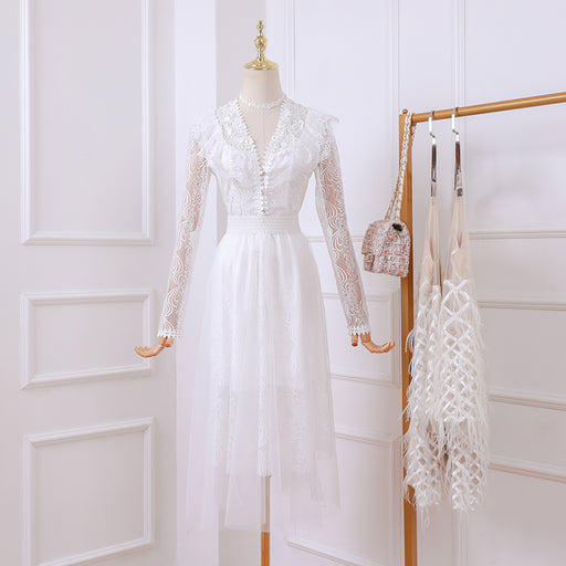 Korean Fairy Ivory Petite Girl Lace Sheer Dress