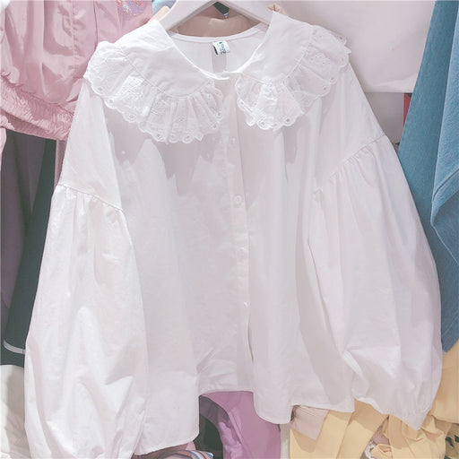 Cute loose doll white shirt cage sleeve long sleeve