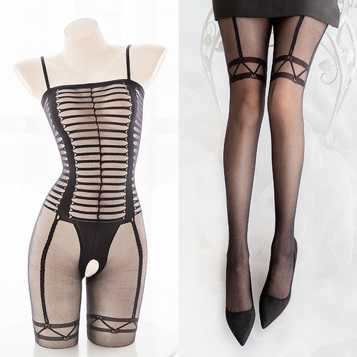 Slash Hole Sexy Mesh Sheer Full Body Bondage Fishnet Body Stocking