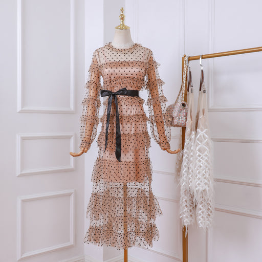 Korean Fairy Polka Dots Petite Girl Lace Sheer Dress