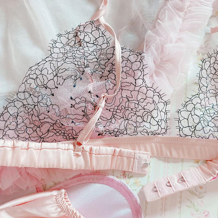 Japanese Girl Eyelash Lace Sexy Steelless Triangle Cup Satin Bra Set