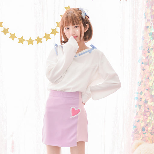 Sweet Hearty Kawaii Aesthetic Pastel Harajuku Skirt