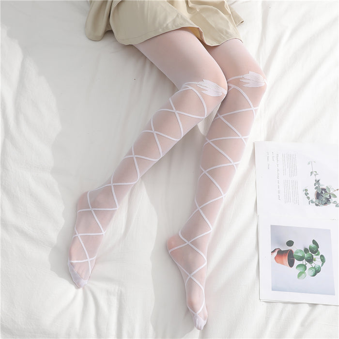 Japanese Lolita Lace up Wings Knee High Tights
