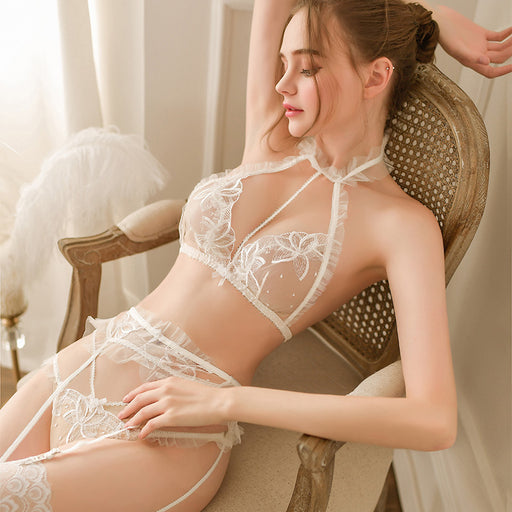 Sexy Nighties - Ruffle Sheer Transparent Lacy Bralette Set