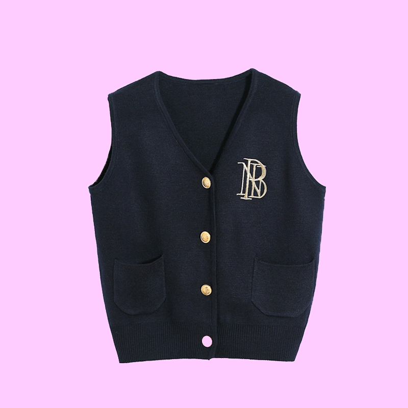 College style all-match embroidery knit vest cardigan short vest