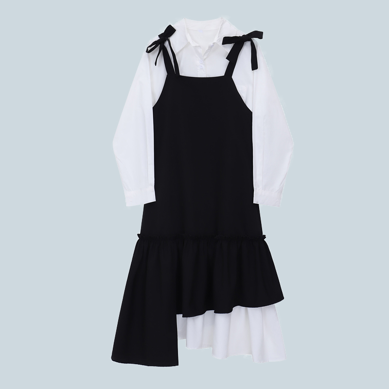 Casual fashion tie shirt suspender skirt two-piece suit