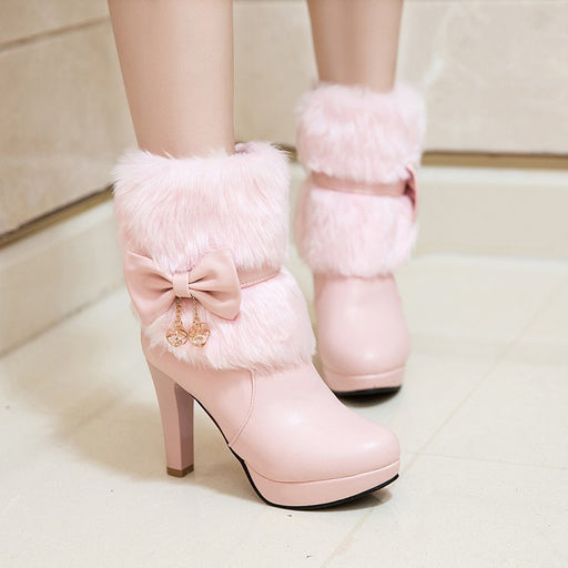 Flower Bow Pink Flower High Heels